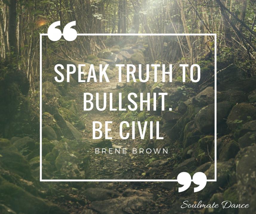 SPEAK truth to bullshit. Be civil